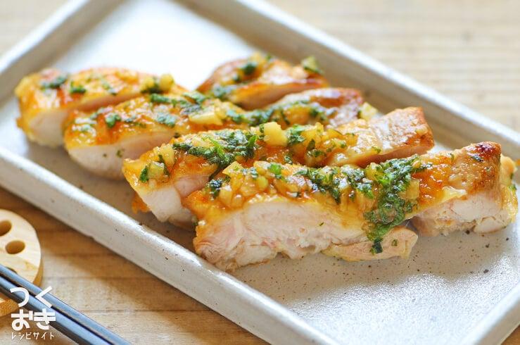 鶏もも肉のわさび醤油ソースの料理写真