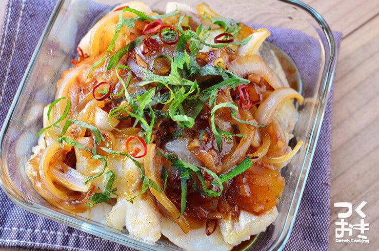タラの香味野菜あんかけの料理写真