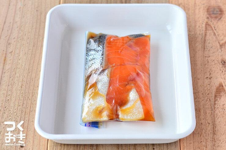 鮭のみりん漬けの浸け置き 写真