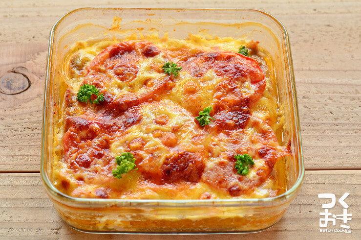 混ぜて焼くだけ。スコップチーズトマトハンバーグの料理写真