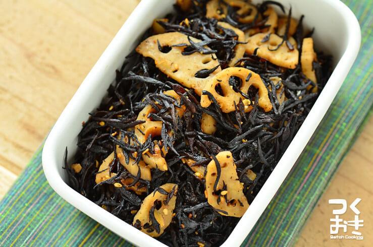 レンコンとひじきの山椒炒め煮の常備菜・作り置きレシピ
