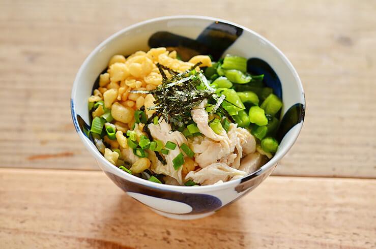 ほぐし鶏と野沢菜の出汁茶漬けのレシピ