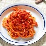 トマトソースパスタのレシピ写真