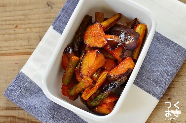 ナスとアスパラのケチャップ炒めの常備菜・作り置きレシピ