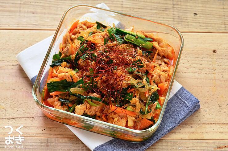 豚肉としらたきのチャプチェ風甘辛炒めの常備菜・作り置きレシピ