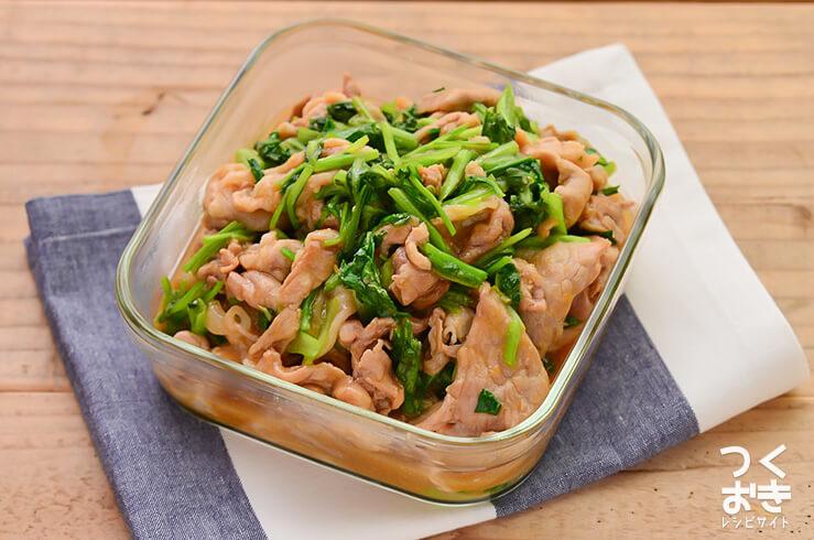 豚肉と小松菜の甘辛しょうが炒めの常備菜・作り置きレシピ