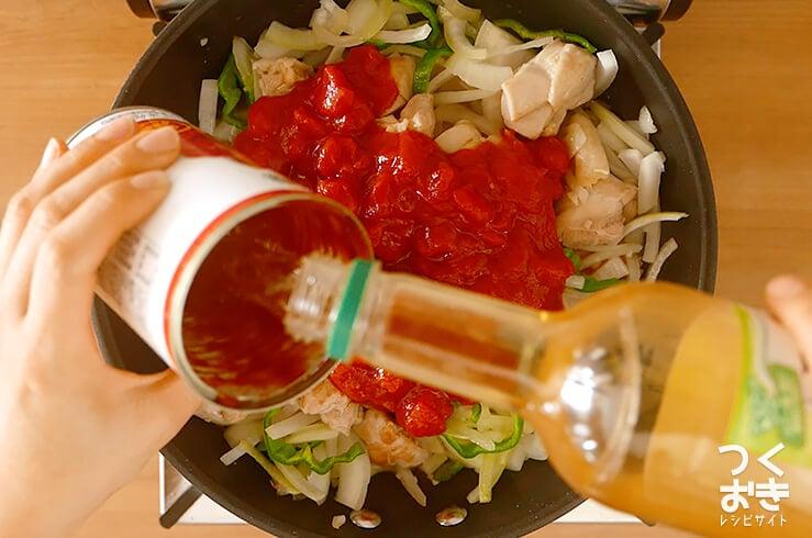 チキンのトマト煮込みの調理写真その1