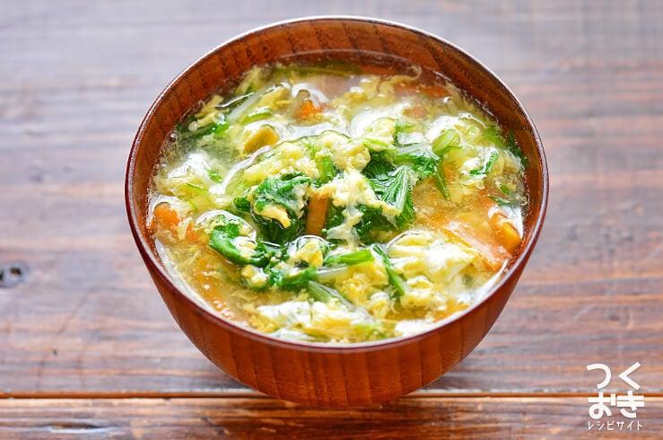 水菜と卵のとろみ汁の料理写真