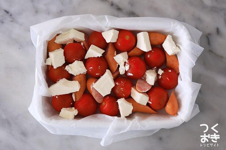 トマトとクリームチーズのオムレツの手順写真その2