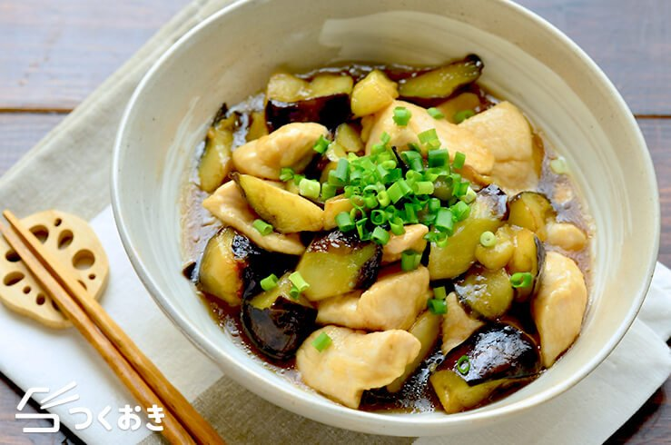 鶏むね肉となすのとろとろ炒め煮の料理写真