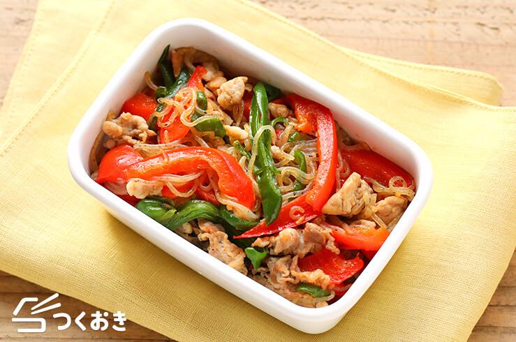 しらたきと彩り野菜炒めの料理写真