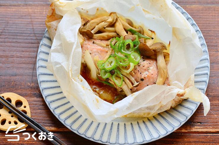 鮭ときのこのバター醤油包み焼きの料理写真