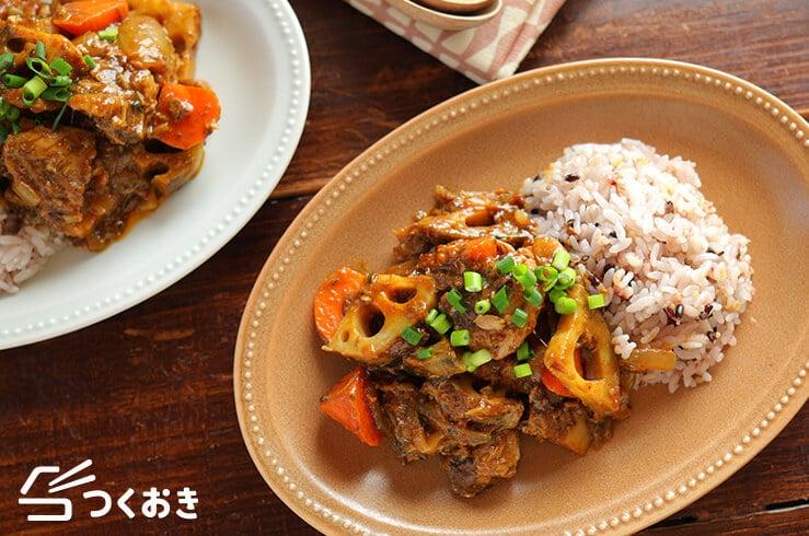 サバ缶と根菜の和風カレー炒め煮の料理写真