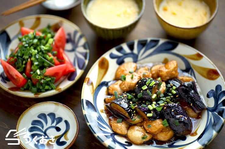 なすとささみの黒酢炒め定食の献立写真