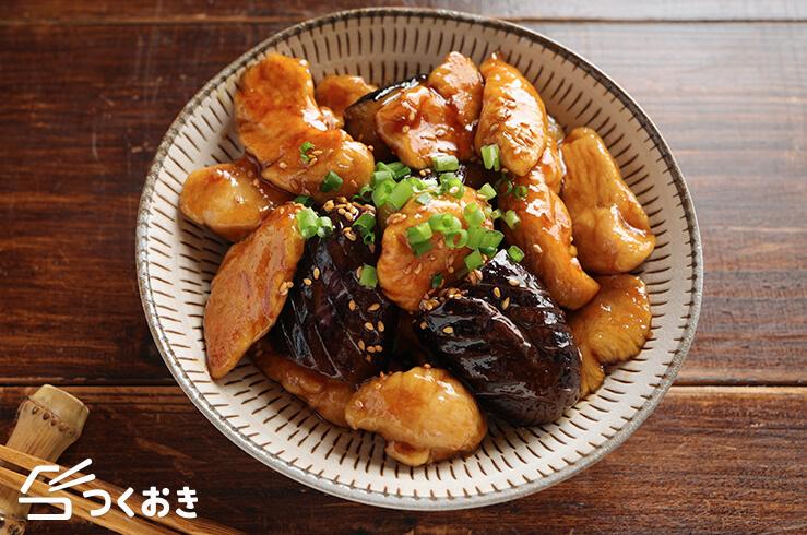 なすとささみの黒酢炒めの料理写真
