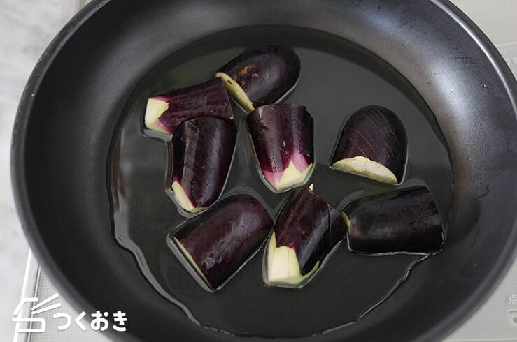 なすとささみの黒酢炒めの手順写真その1