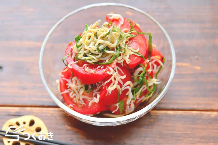 トマトのしらす大葉和えの料理写真