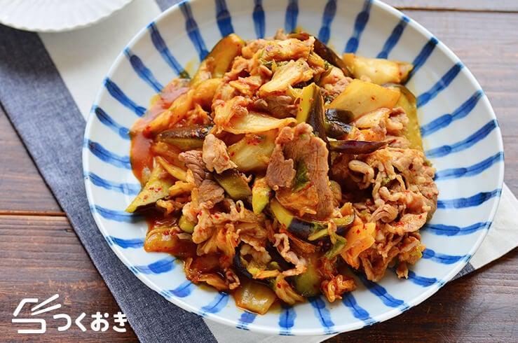 豚肉となすのキムチ炒めの料理写真