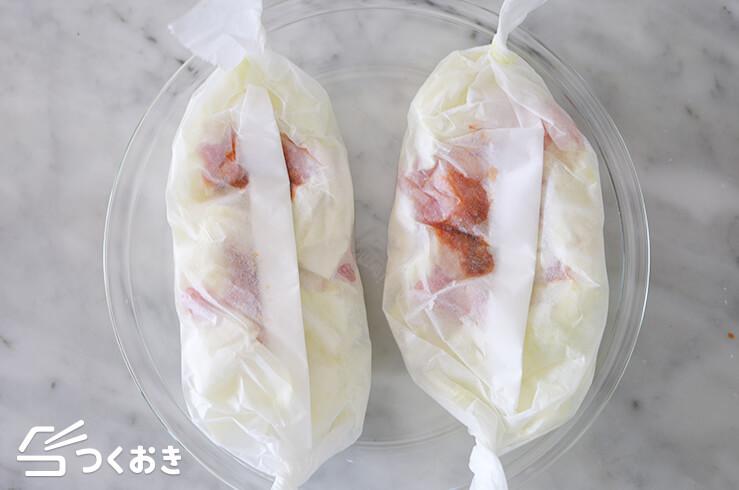 鶏肉とキャベツのレンジ包み蒸しの手順写真その3