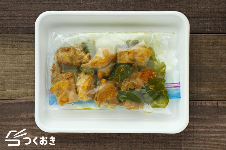 鶏肉とピーマンのカレーマヨ炒めの冷凍写真