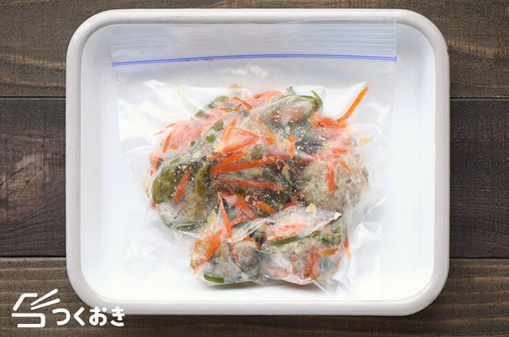 レンジカラフル肉だんごの冷凍写真