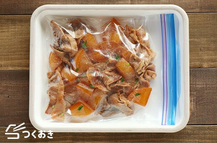 基本の豚バラ大根の冷凍写真