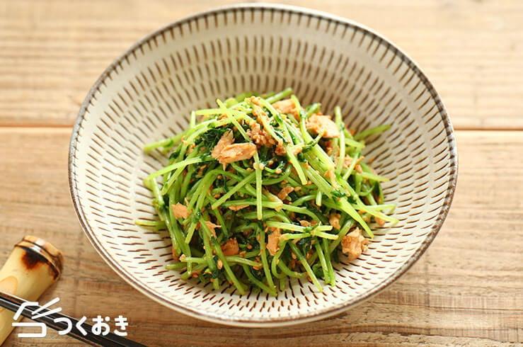 豆苗のツナごま炒めの料理写真