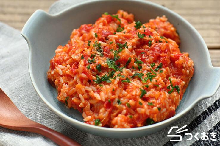 ツナトマトのリゾット風の料理写真