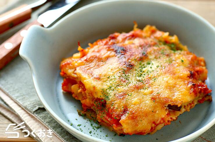 なすとトマトのラザニア風の料理写真
