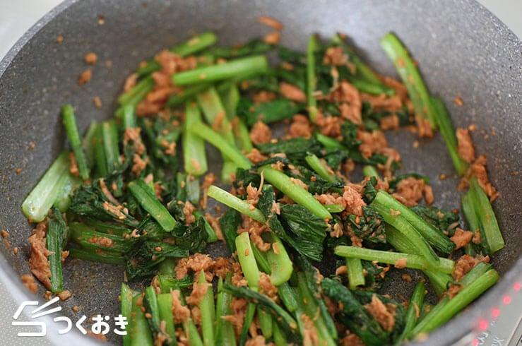 小松菜とツナの甘辛ごま炒めの手順写真その4