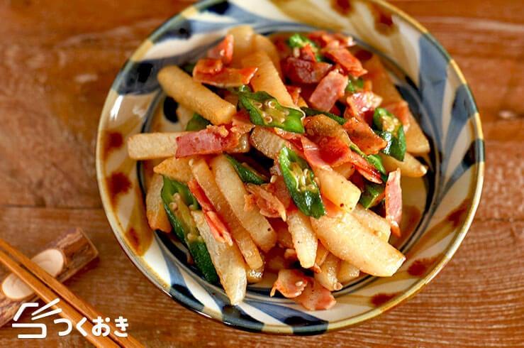 オクラと長芋のコンソメ醤油炒めの料理写真