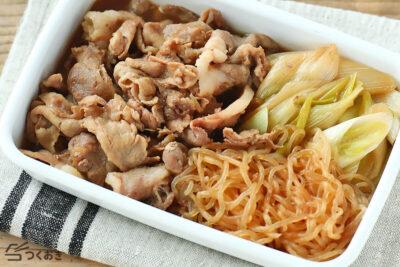 豚肉と長ねぎのすき焼き風の料理写真