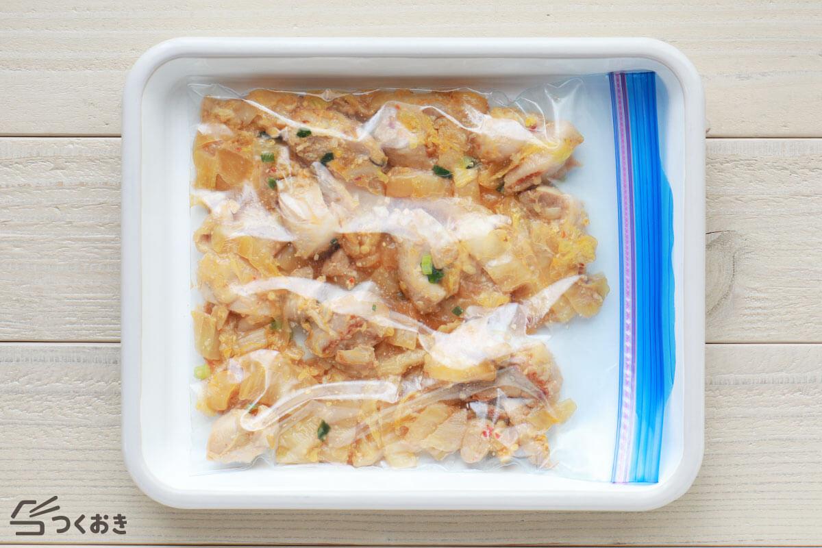 鶏肉と白菜のピリ辛みそ炒めの冷凍保存写真