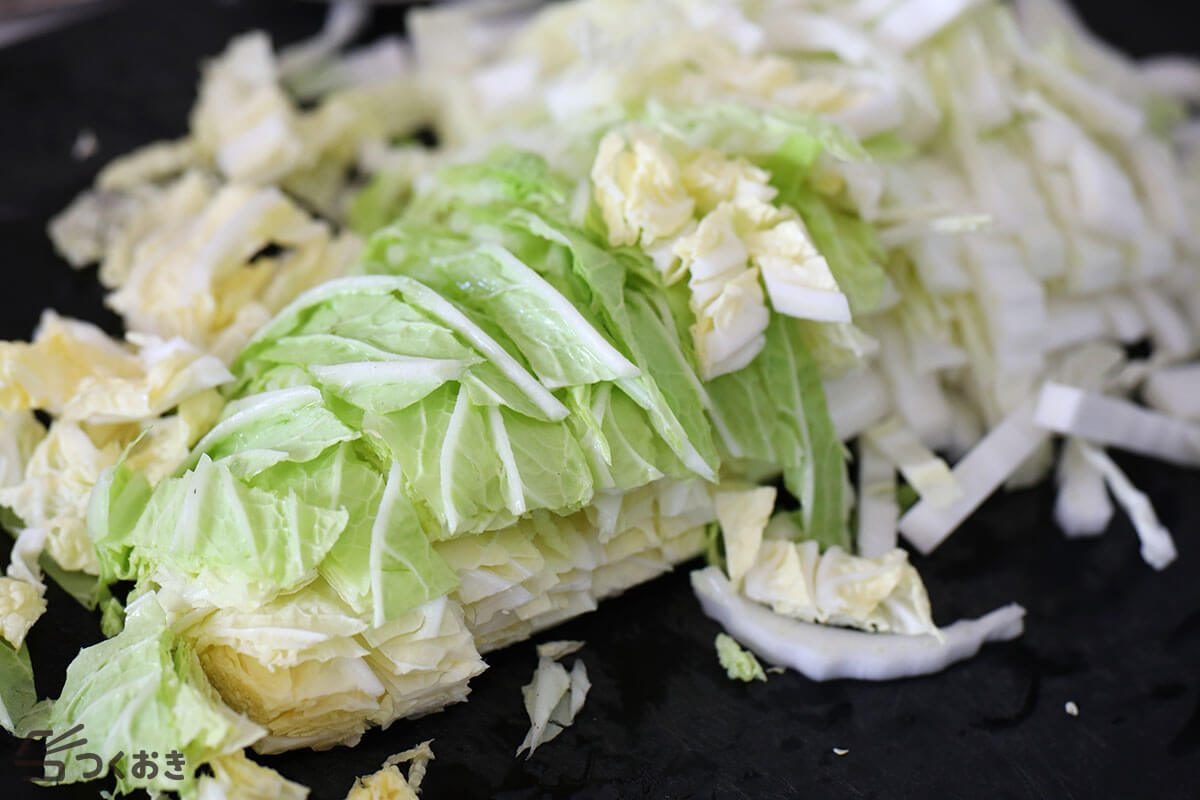 白菜とにんじんの和風マヨサラダの手順写真その1
