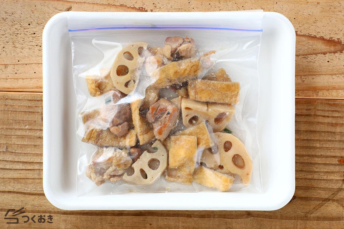 れんこんと鶏肉と油揚げの煮物の冷凍保存写真