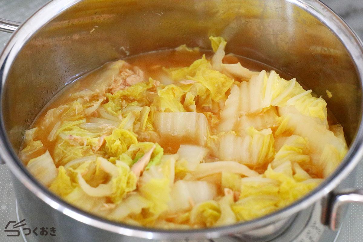 白菜とツナのとろとろ煮の手順写真その2