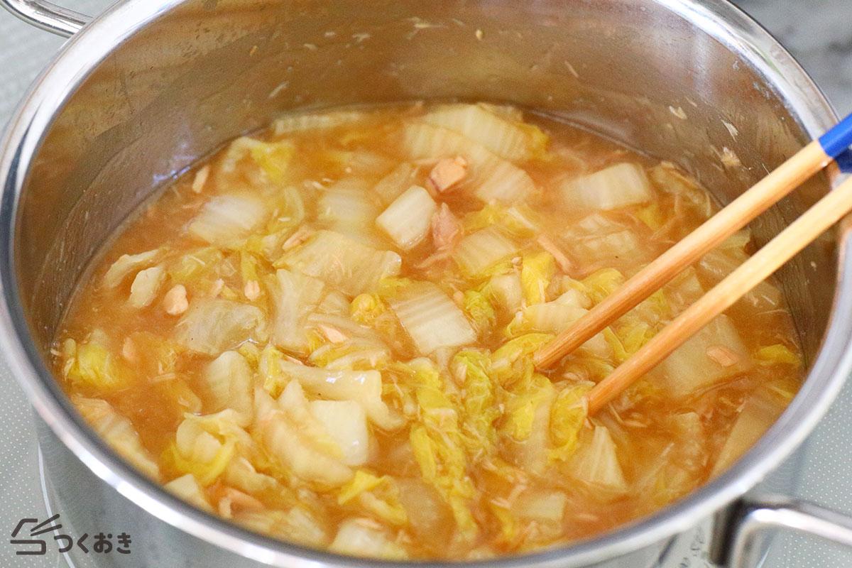 白菜とツナのとろとろ煮の手順写真その3
