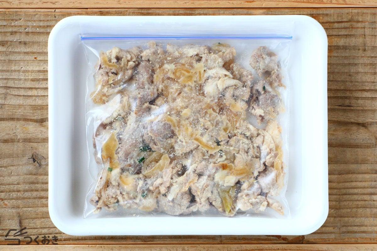 豚肉とたまねぎのみそマヨ炒めの冷凍保存写真