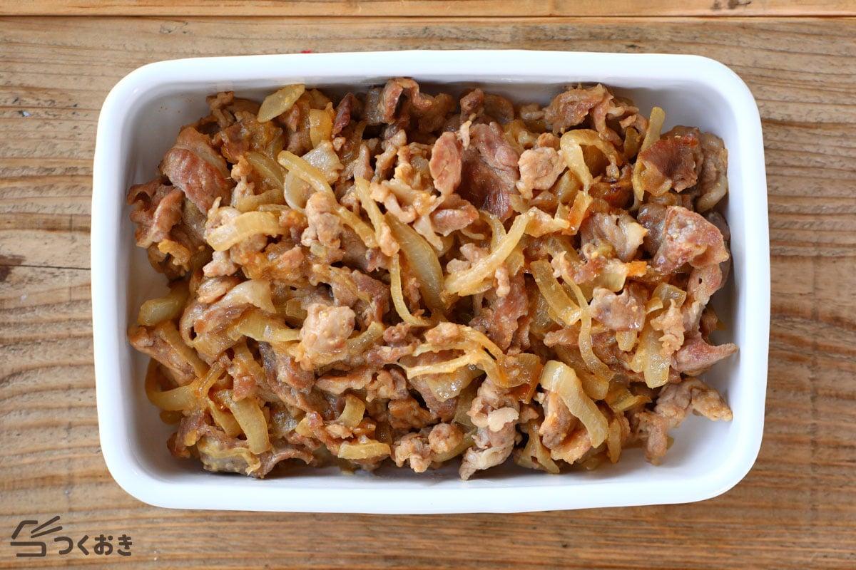 豚肉とたまねぎのみそマヨ炒めの冷蔵保存写真