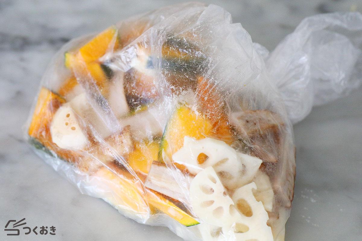 かぼちゃ・れんこん・ごぼうの甘酢ホットサラダの手順写真その2