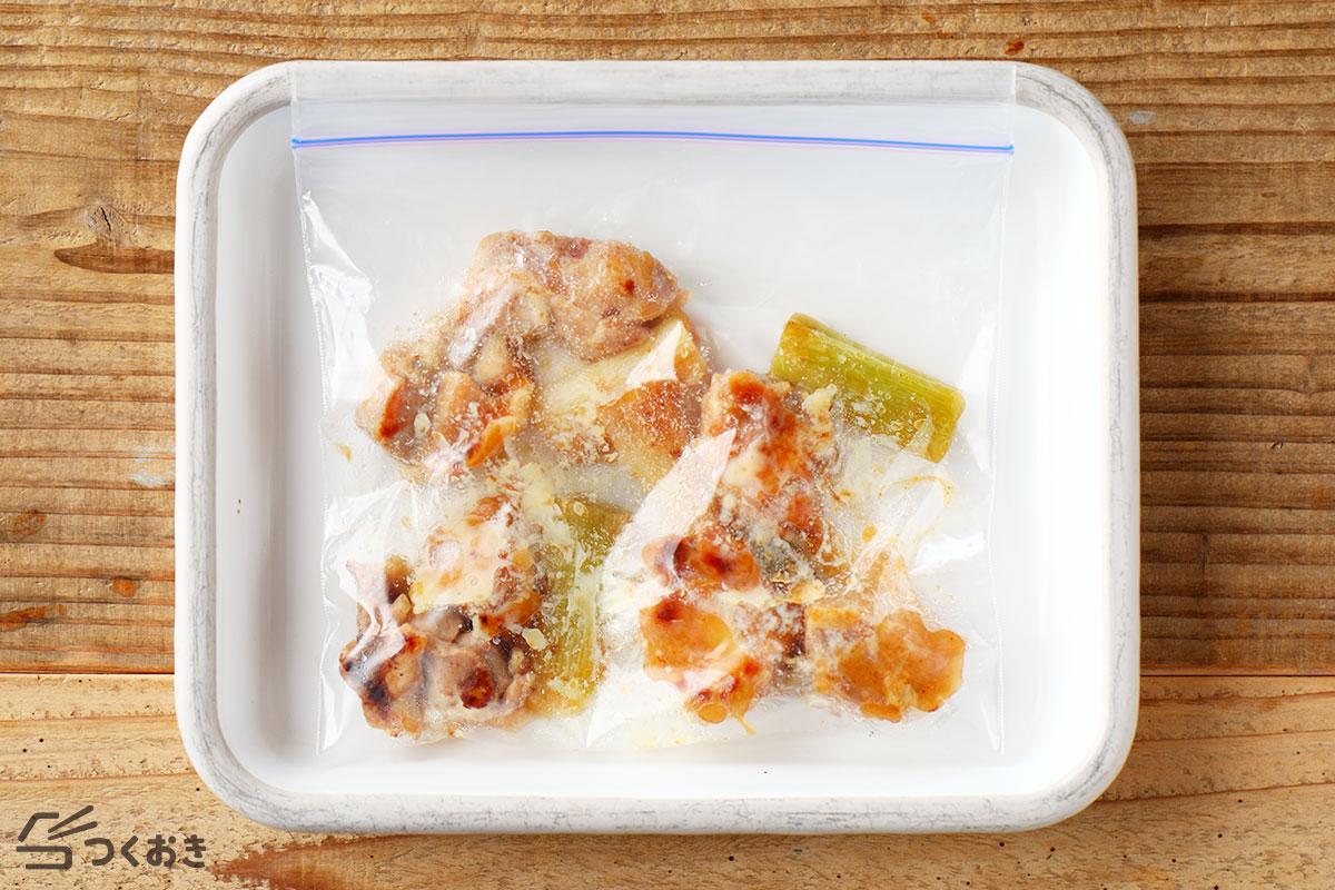 鶏肉と長ねぎのうま塩焼きの冷凍保存写真