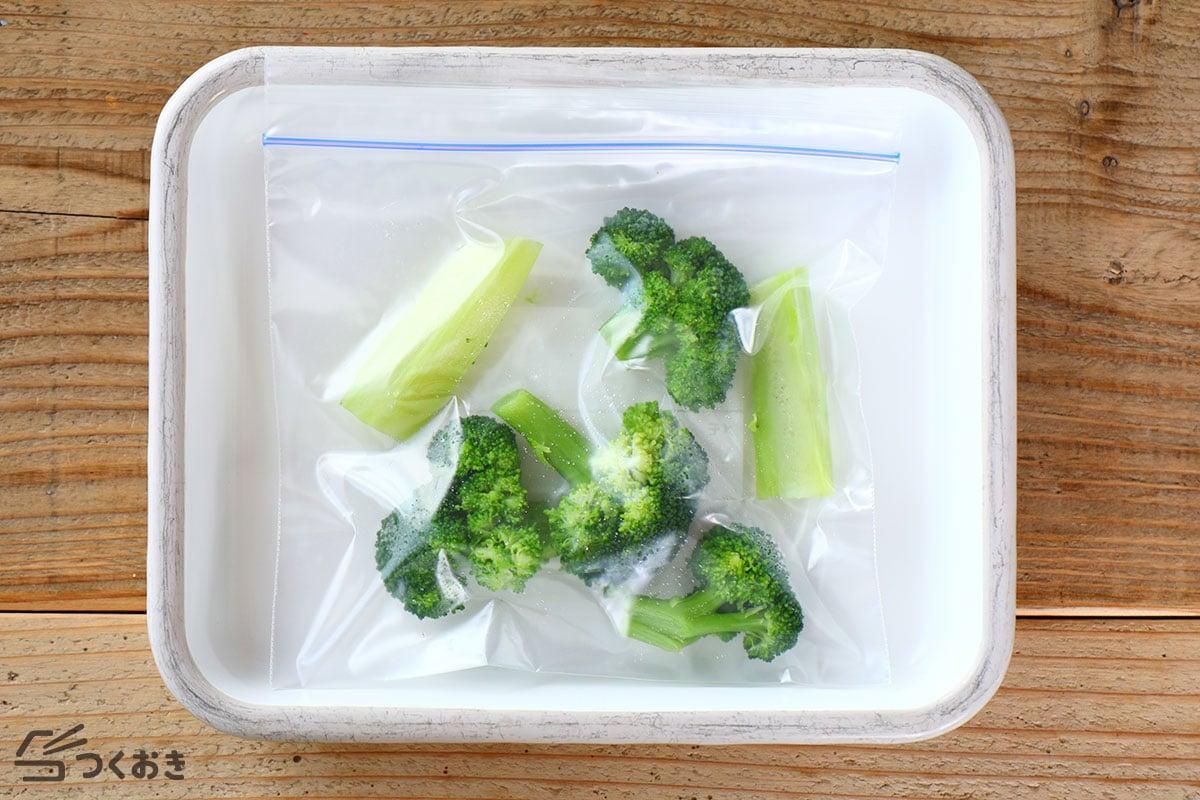 ゆでブロッコリーの冷凍保存写真