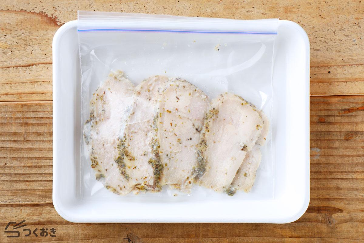 塩こうじのハーブサラダチキンの冷凍保存写真