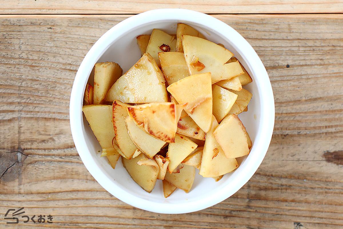 焼きたけのこの柚子こしょうサラダの冷蔵保存写真