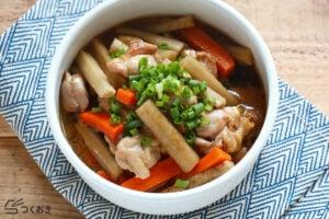 鶏ごぼうのめんつゆ炒め煮の写真