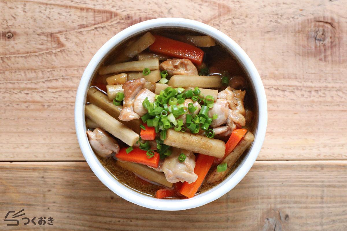 鶏ごぼうのめんつゆ炒め煮の冷蔵保存写真