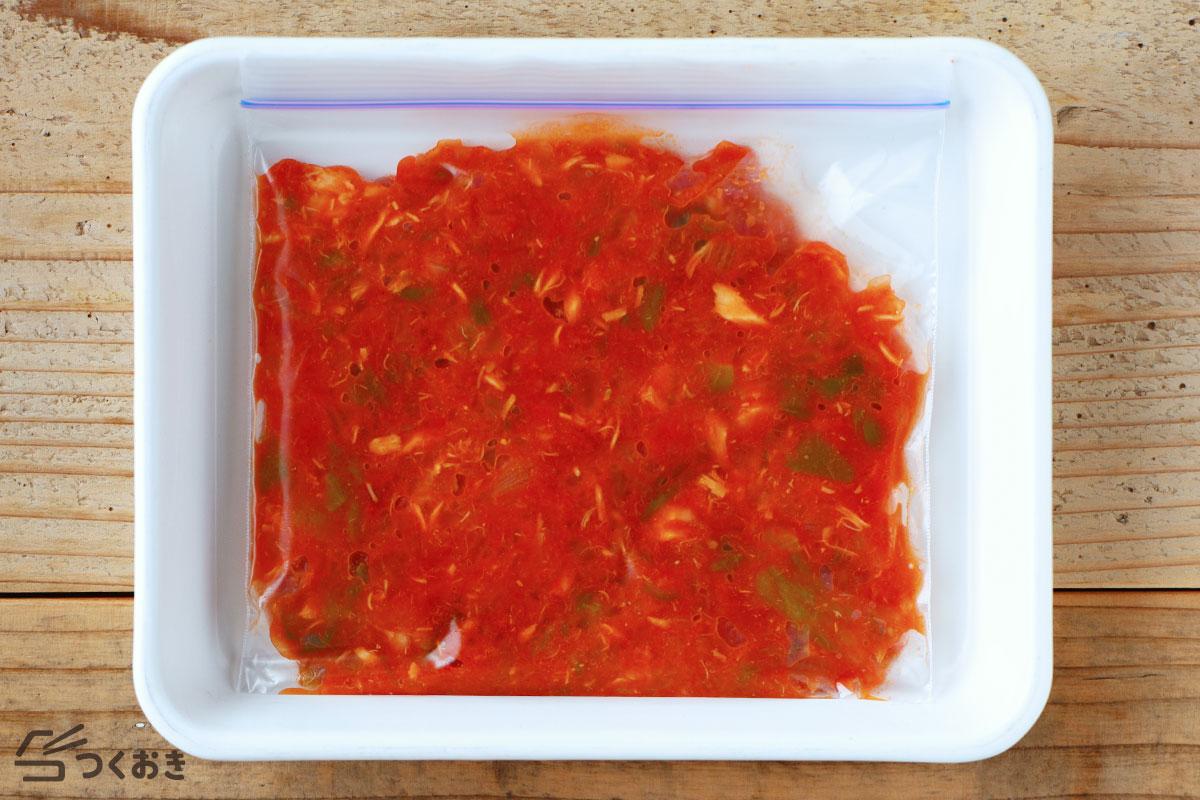ツナのトマト煮込みの冷凍保存写真