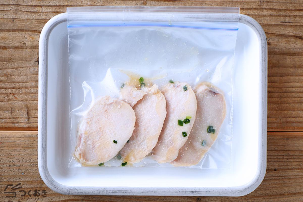 和風サラダチキンの冷凍保存写真