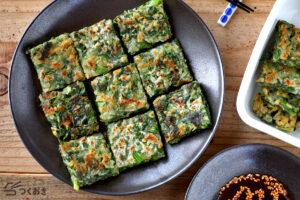 小松菜としらすのチヂミの写真