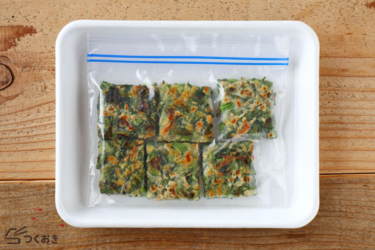小松菜としらすのチヂミの冷凍保存写真